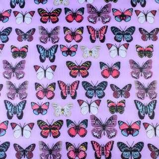ПВХ ткань рип-стоп 210T розовая в яркие бабочки ш.150