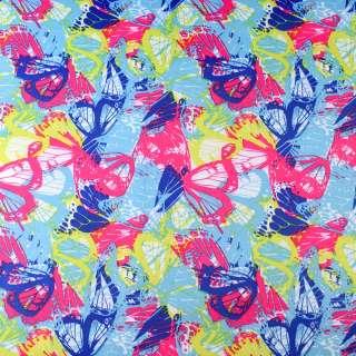 ПВХ ткань рип-стоп 210T бирюзовая в сине-розово-желтые бабочки ш.150