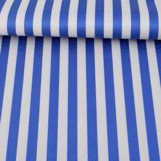 Ткань ПВХ бело-синяя полоска, ш.150