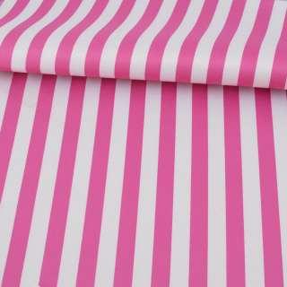 Ткань ПВХ бело-розовая полоска, ш.150