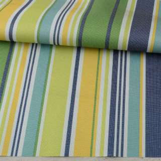 ПВХ ткань оксфорд 600D белая, зеленая, желтая, синяя полоска, ш.150