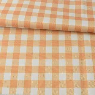 ПВХ ткань оксфорд 600D бело-оранжевая клетка, ш.150
