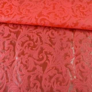 Флизелин неклеевой (спанбонд) красный с тиснением завитки, плотность 80, ш.162