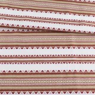 Ткань с украинским орнаментом Панночка бежевая, ш.150