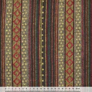 Ткань этно корич-бежевые полосы с красными ромбами ш.150