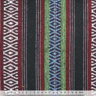 Ткань этно черно-красные, зеленые полоски с орнаментом ш.148