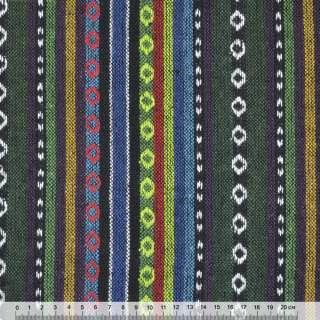 Ткань этно зелено-синие, салатовые полосы с орнаментом ш.150