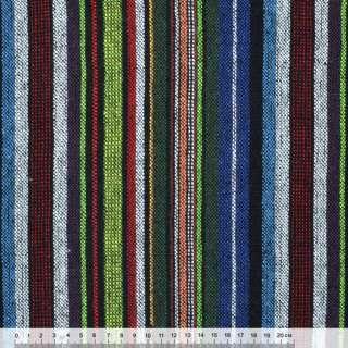 Ткань этно зелено-синие, бело-красные полосы ш.145