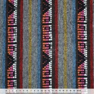 """ткань """"этно"""" серо-коричневые полосы с орнаментом ш.150"""
