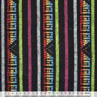Ткань этно черная в салатовые, белые, малиновые полосы с орнаментом ш.150
