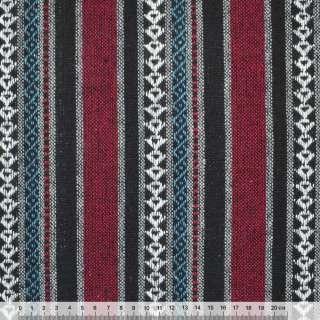 Ткань этно черно-красные, серые полосы с орнаментом ш.150