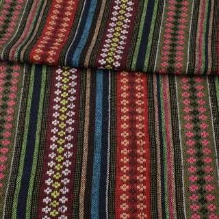 Ткань этно красные, оливковые, бордовые полоски с орнаментом, ш.150