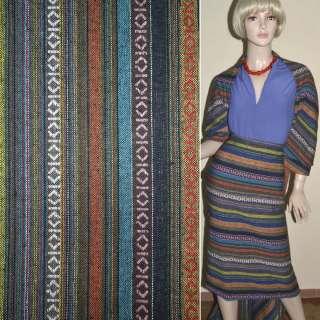 Ткань этно желто-синие, коричневые полосы с орнаментом ш.150