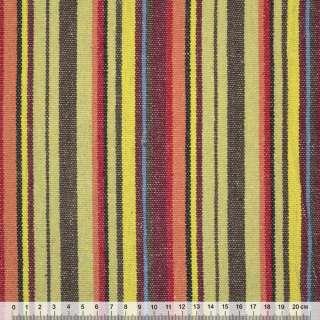 Ткань этно коричнево-желтые, бордово-красные полоски ш.150
