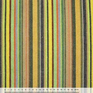 Ткань этно желто-салатовые, бежево-зеленые полоски ш.150