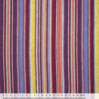 Ткань этно бордово-желтые, сиренево-голубые полоски ш.150