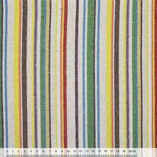 Ткань этно молочно-зеленые, коричнево-желтые полоски ш.145