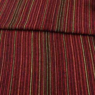 Ткань этно черная, красные, оранжевые, желтые полоски ш.150