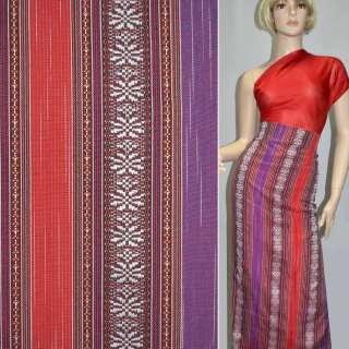 Ткань этно фиолетовые, красные, коричневые полосы с орнаментом ш.150