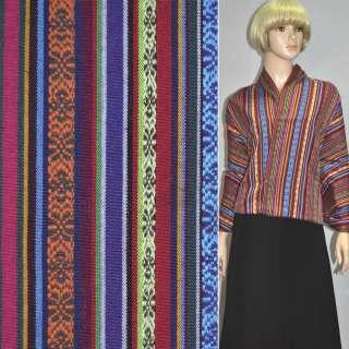 Ткань этно фиолетовые, красные, желтые полосы с орнаментом ш.150