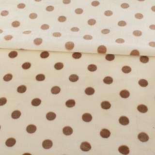 Велсофт односторонний молочный в коричневый горох, ш.180
