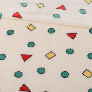 Велсофт двухсторонний молочный в цветные треугольники, кружочки, ш.180