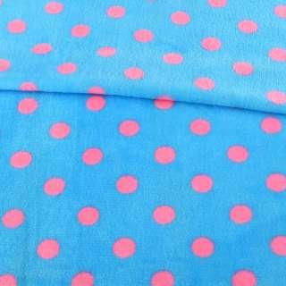 Велсофт двухсторонний голубой в розовый горох, ш.160
