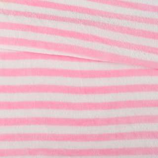Велсофт двухсторонний белый в розовую полоску, ш.160