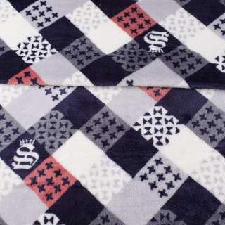 Велсофт двухсторонний в серые, синие, белые квадратики с узорами, ш.185
