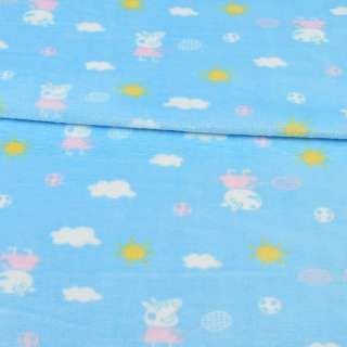 Велсофт двухсторонний голубой, свинка Пеппа, облака, солнце, ш.185
