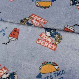 Велсофт двухсторонний серо-голубой, Том и Джерри, ш.185