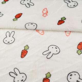 Велсофт двухсторонний белый, зайчики, морковки, ш.185