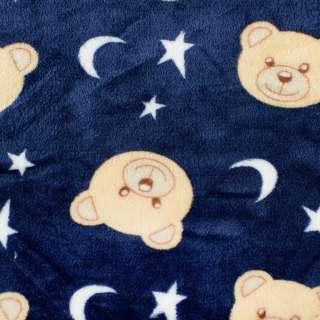 Велсофт двухсторонний синий, бежевые мишки, белые звездочки, ш.185