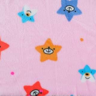 Велсофт двухсторонний розовый, веселые звездочки, ш.190