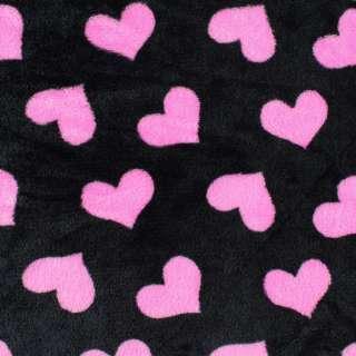 Велсофт двухсторонний черный, розовые сердечки, ш.185