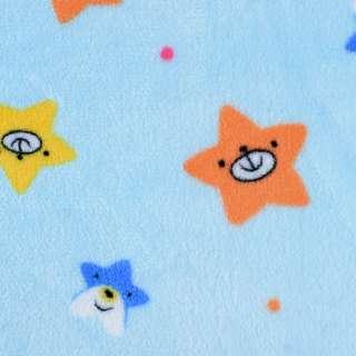 Велсофт двухсторонний голубой, веселые звездочки, ш.180