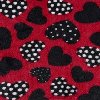 Велсофт двухсторонний красный, черные сердечки, ш.185