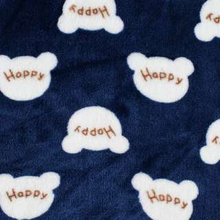 Велсофт двухсторонний синий, белые мордочки HAPPY, ш.185