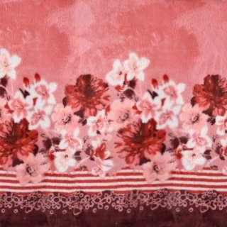 Велсофт двухсторонний розовый, кайма цветы, 2ст.купон, ш.188