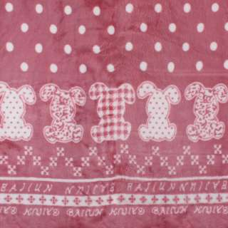 Велсофт двухсторонний фрезовый в белый горох, зайчики, 2ст.купон, ш.185
