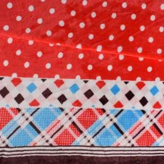 Велсофт двухсторонний красный, кайма в клетку, 2ст.купон, ш.185