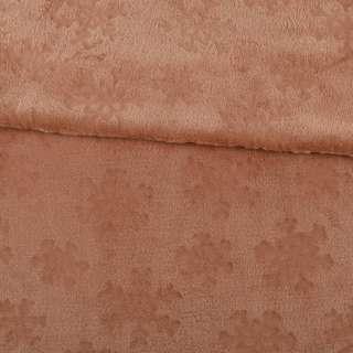 Велсофт двухсторонний с тиснением снежинки коричневый светлый ш.200