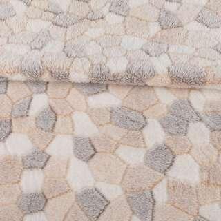 Велсофт рельефный бежево-белый камешки, ш.180