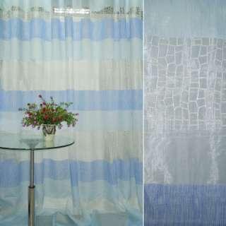 Органза деворе тюль полосы синие, голубые, с напылением серебристым, белая, ш.280