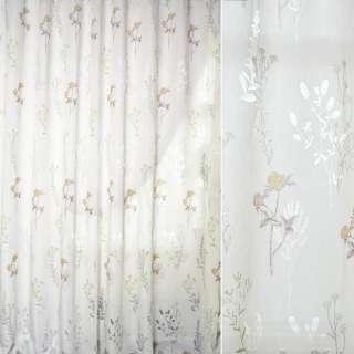 Батист деворе белый в зелено-коричневые ветки и цветы ш.280