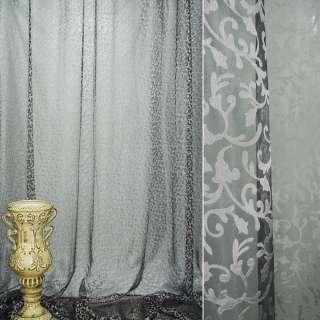 Органза деворе тюль вензель испанский дворик серый на черном фоне, ш.280