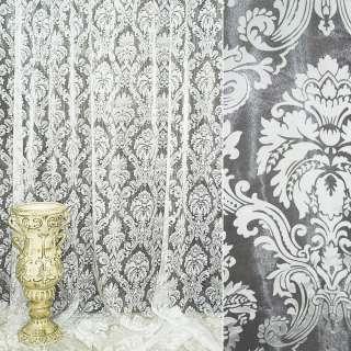 Органза деворе тюль вензель с цветком, белая, ш.280