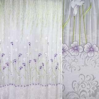 Органза деворе тюль каллы фиолетово-зеленые, белая, ш.270