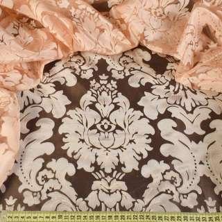 Органза деворе тюль вензель с цветком фактурный, персиковая, ш.280