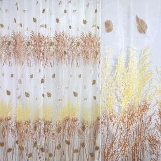Органза деворе тюль деревья купон желто-коричневый, белая, ш.270